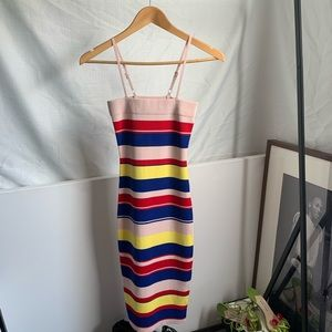 90s SQUARE NECK RIBBED KNIT STRIPED SWEATER DRESS